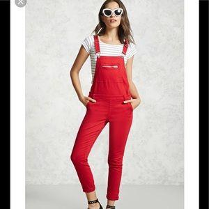 🍒Forever21 red skinny overalls